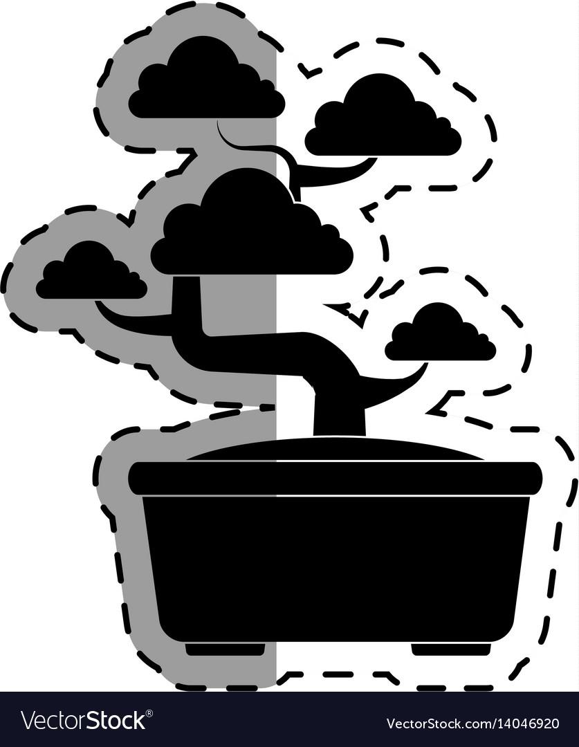 Cute bonsai tree icon vector image