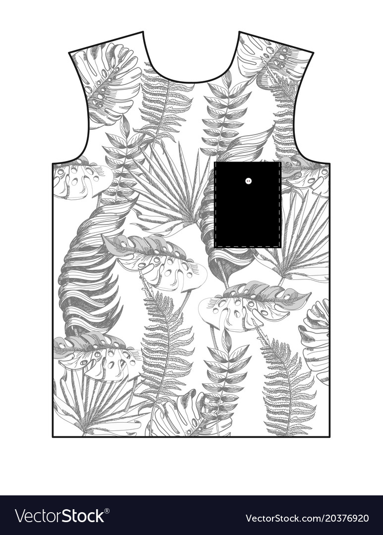 Design t-shirt with tropical leaves