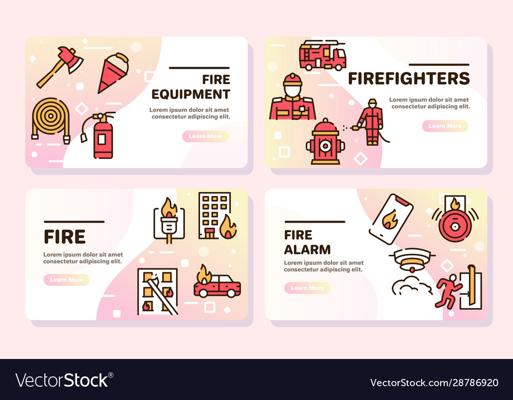 Firefighting red linear icons set