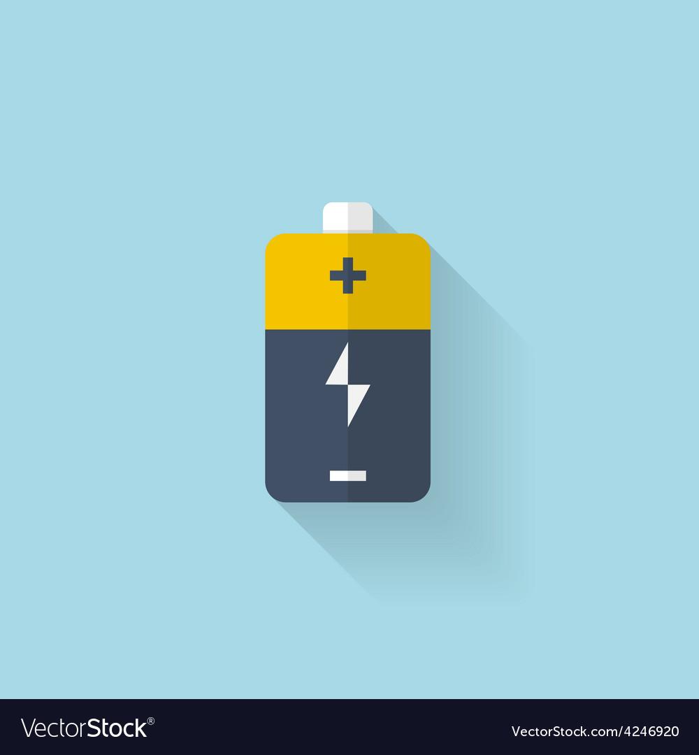 Flat web icon Battery accumulator