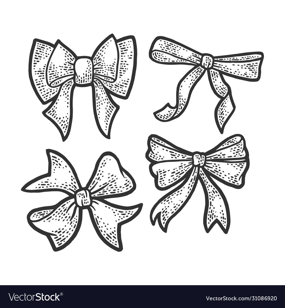 Gift bow ribbon sketch