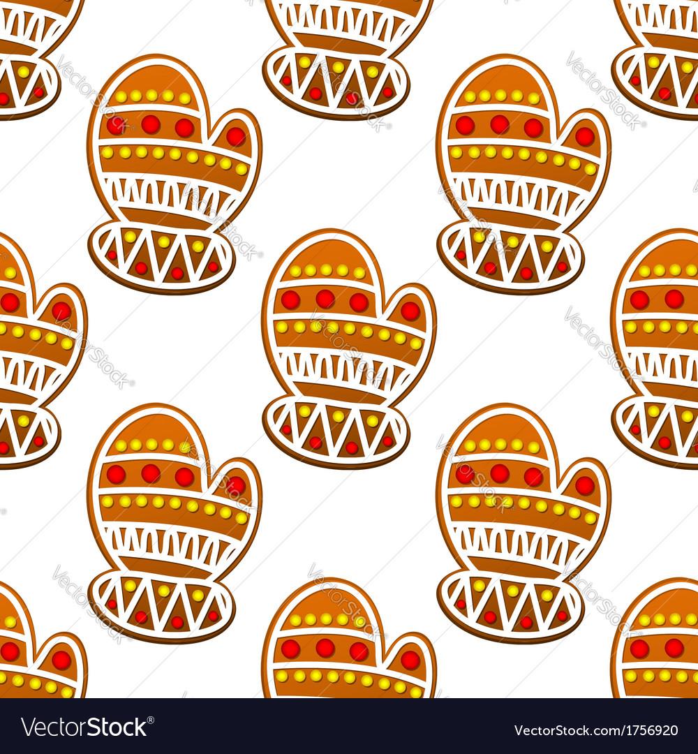 Gingerbread mitten seamless pattern