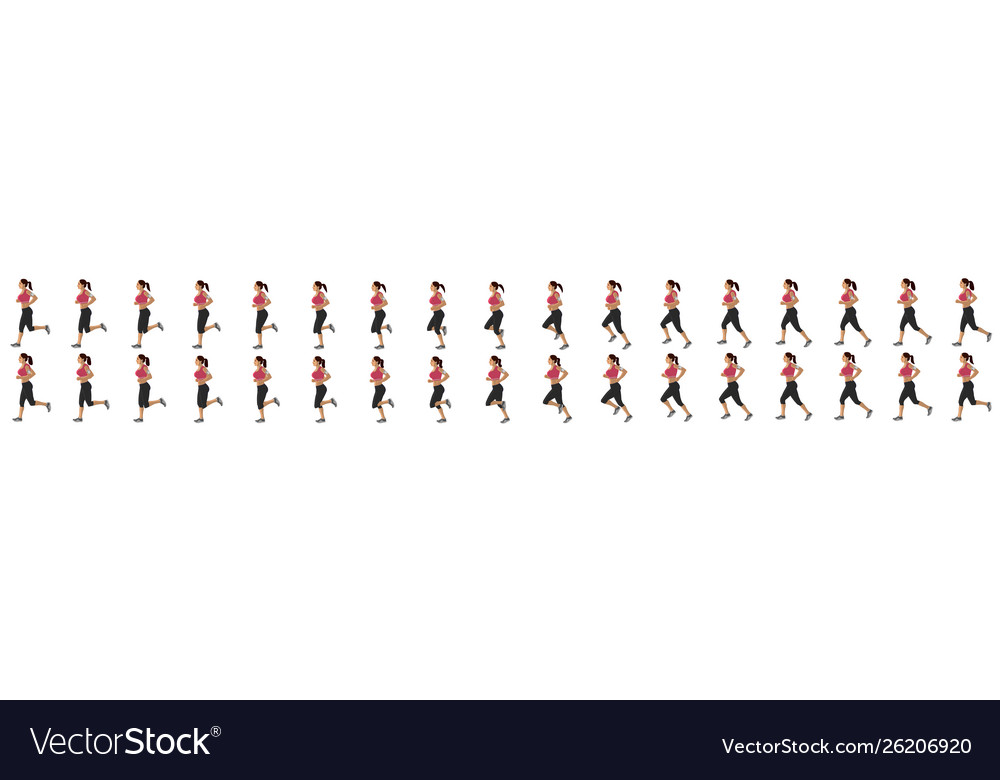 Girl run cycle animation sequence