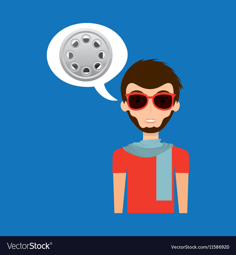 Man hipster concept movie cinema film reel icon