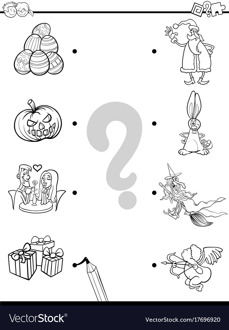 Match holidays educational coloring book Vector Image