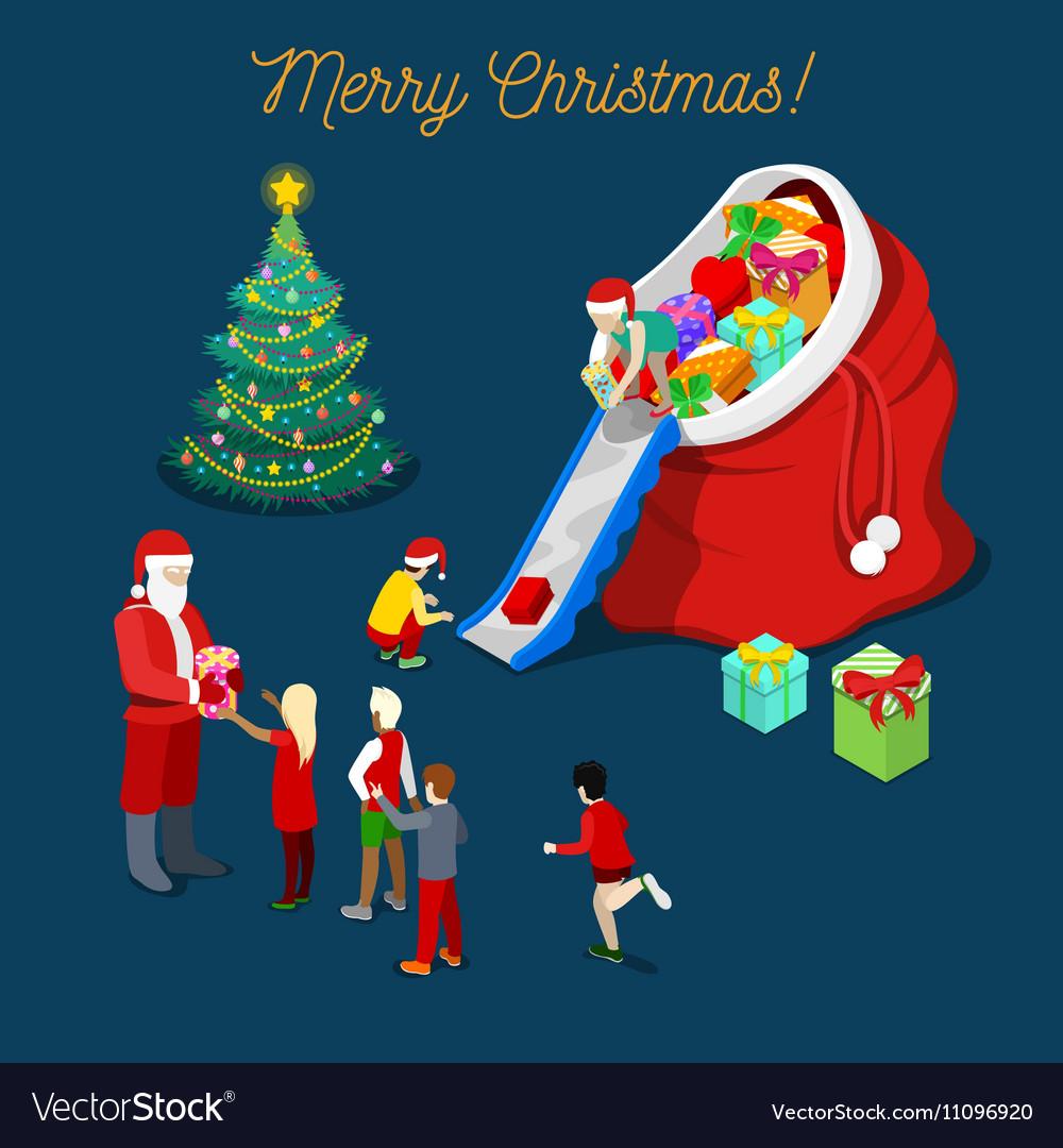 Merry Christmas Isometric Greeting Card