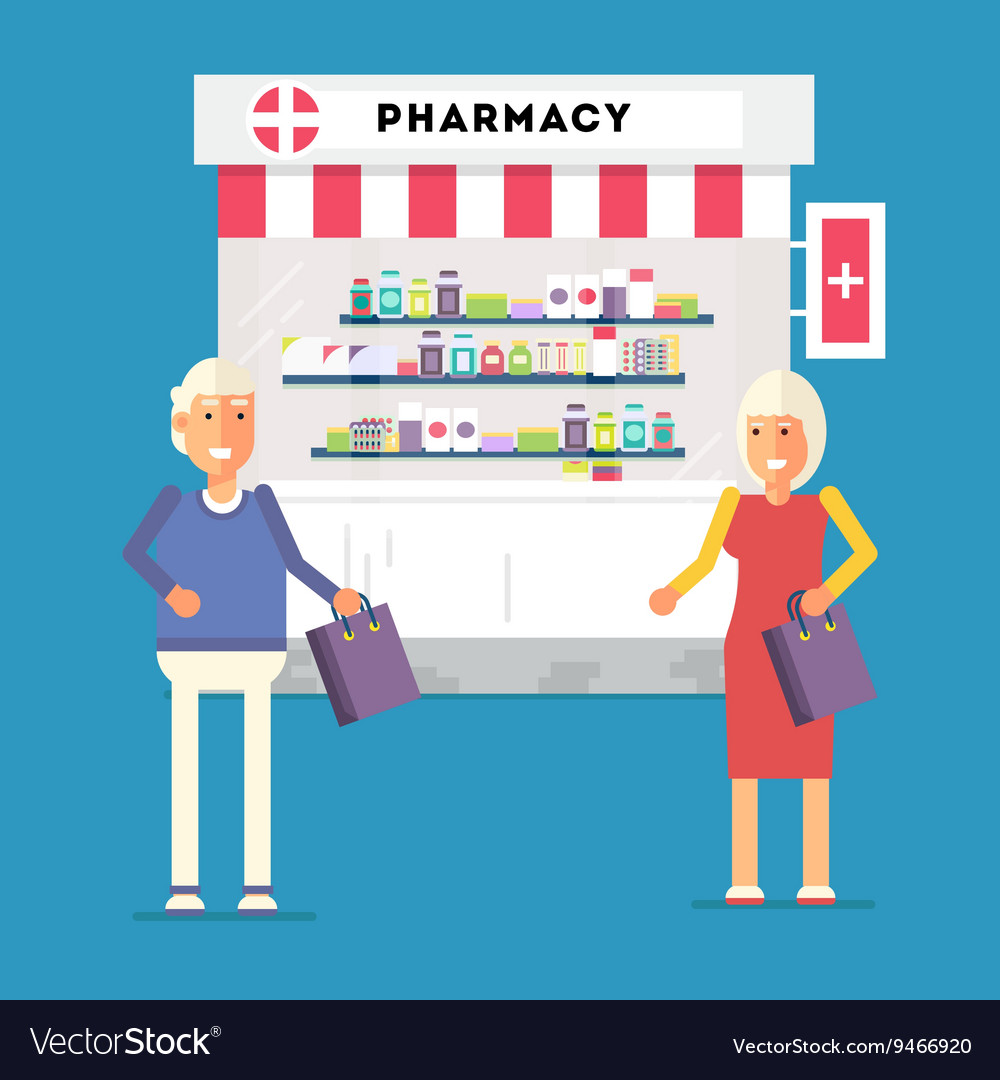 Pharmacy Pensioners Characters vector image