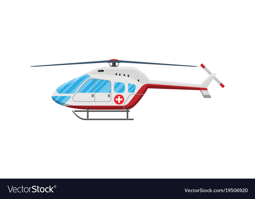 red ambulance helicopter royalty free vector image vectorstock