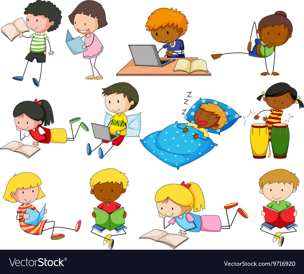 Set of boys and girls doing different activities