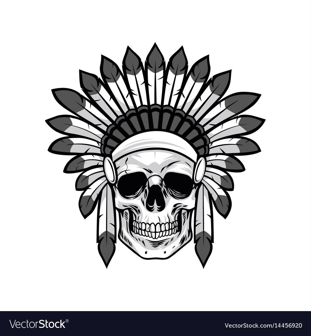 Skull of native american warrior drawing
