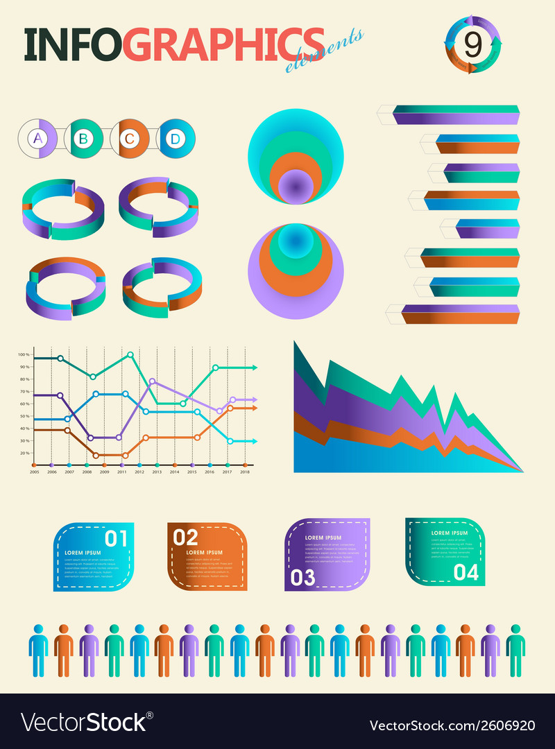 Vintage infographics set Information Graphics