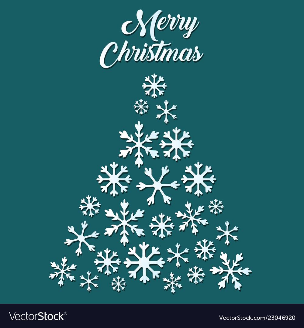 White snowflake christmas tree on green background
