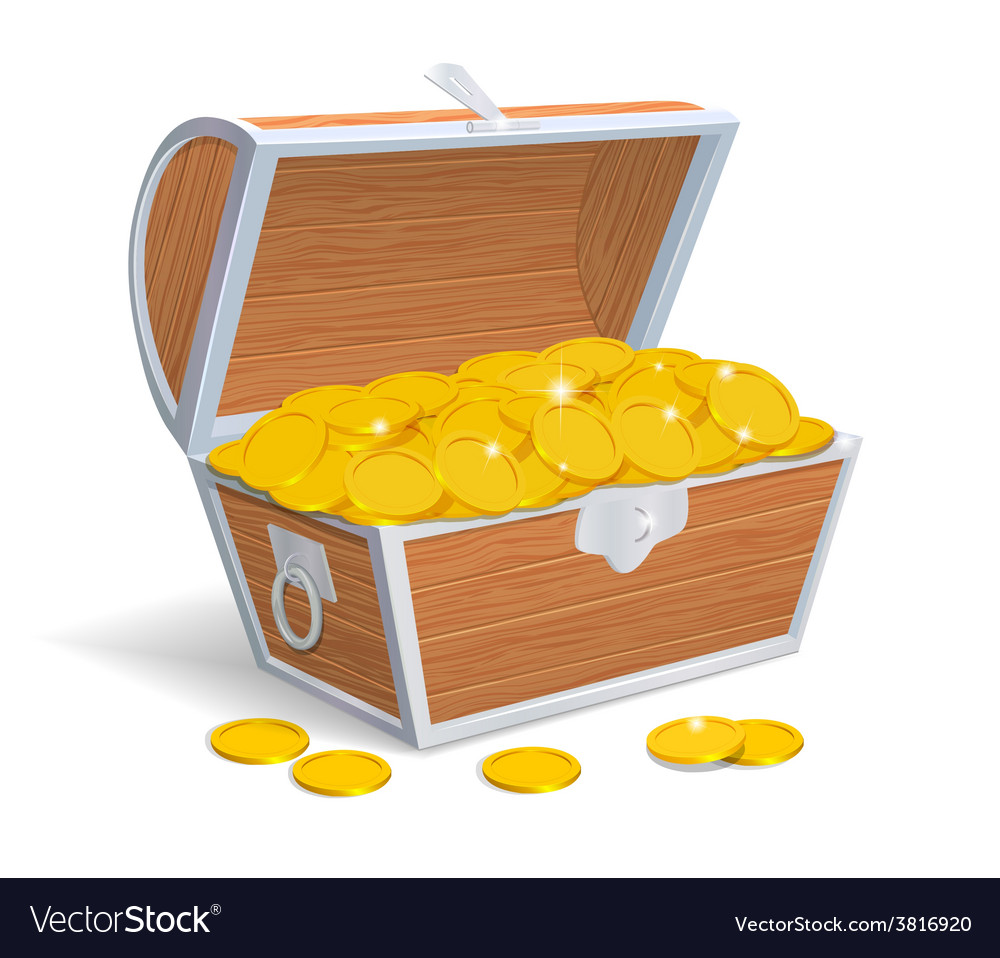 Wood chest full with gold coins vector image