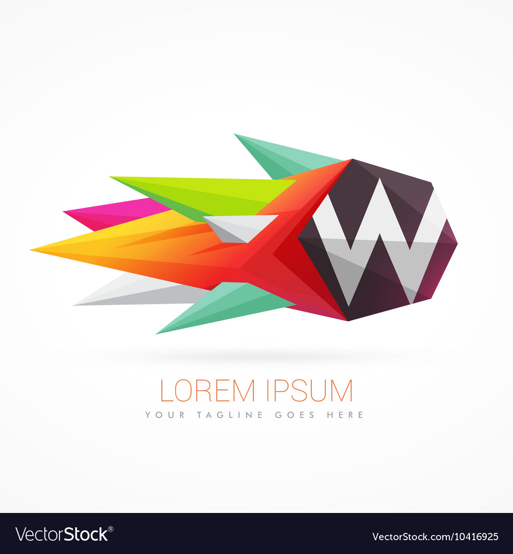 Colorful abstract logo with letter W
