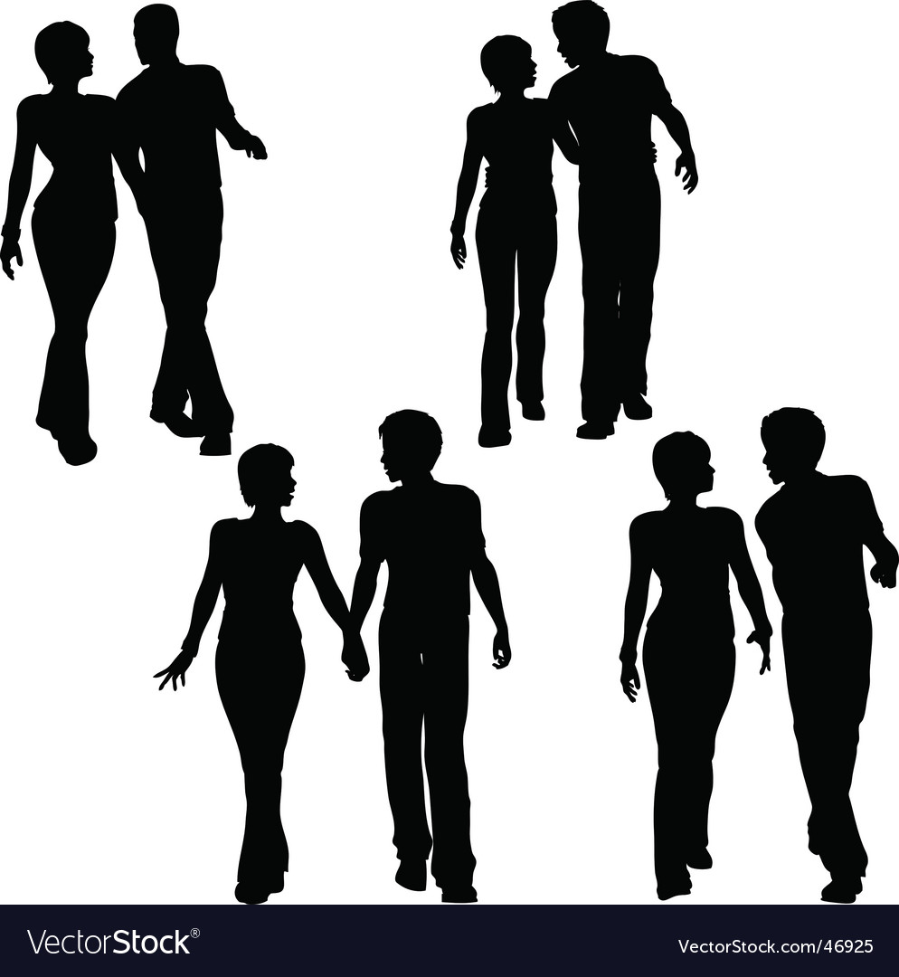 Couples walking vector image