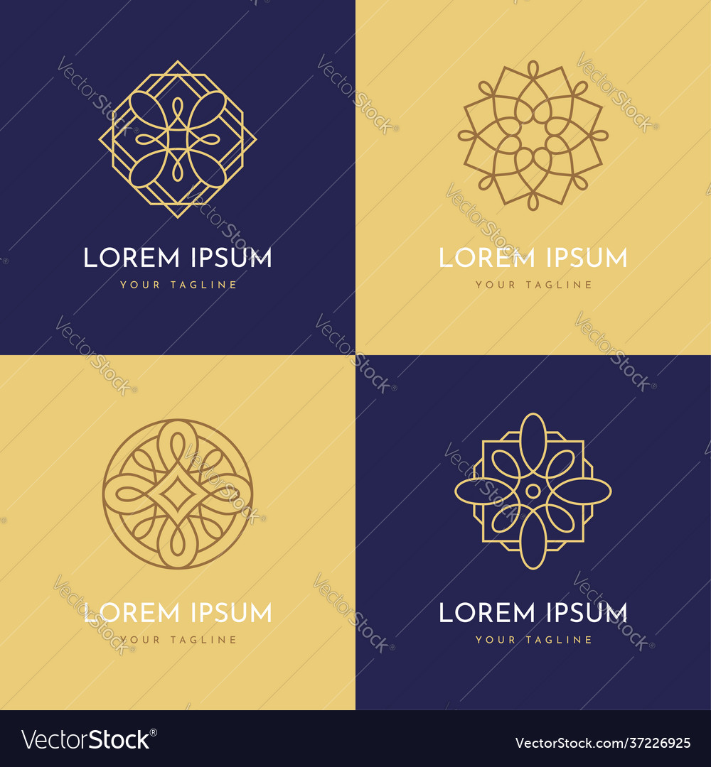 Four abstract linear geometric logo templates