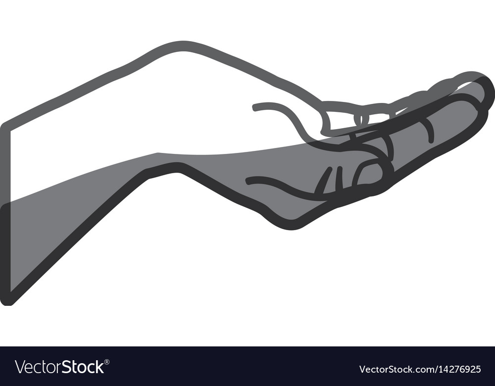 Grayscale silhouette of hand extended
