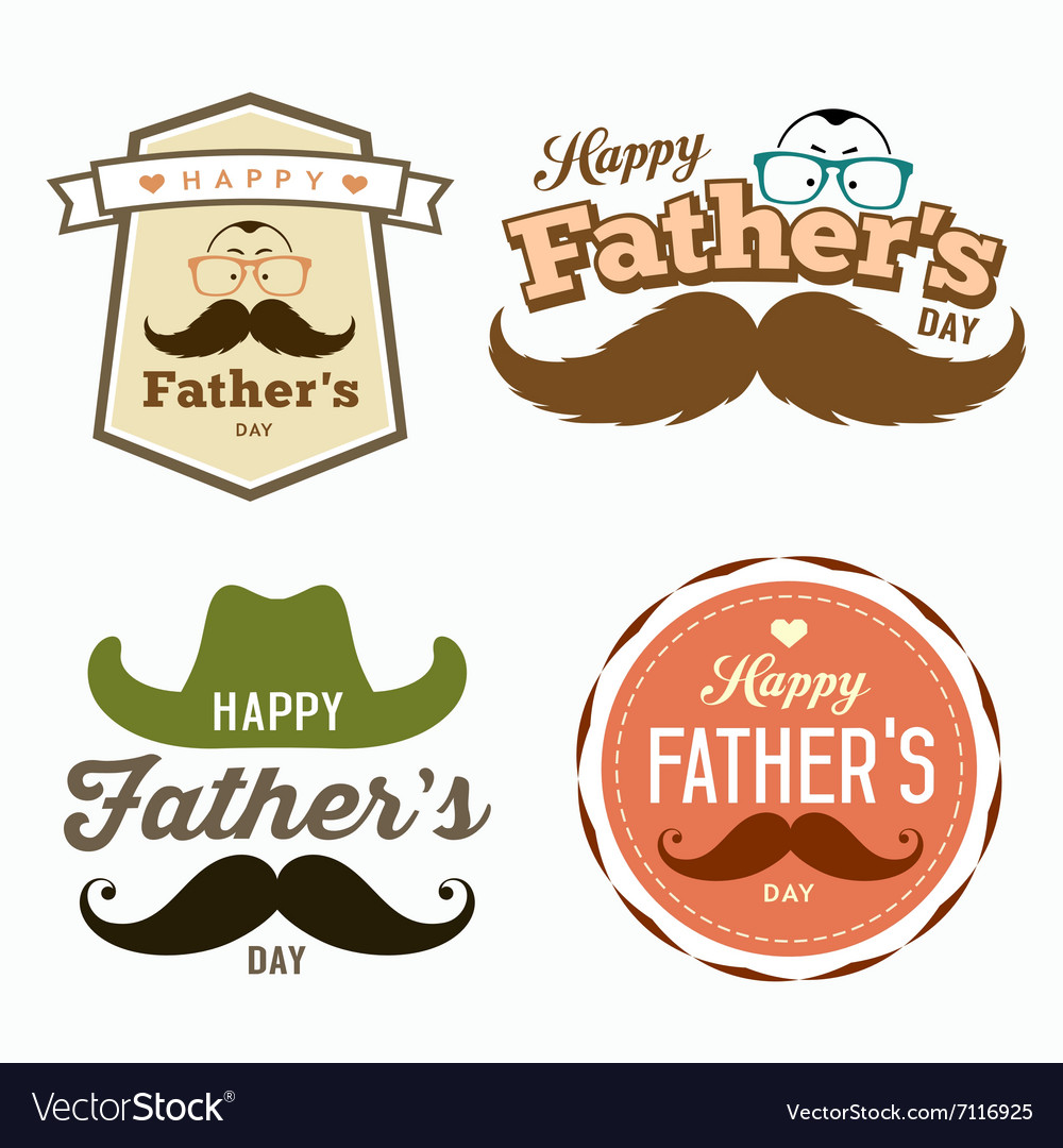 Happy fathers day colorful labels logo set