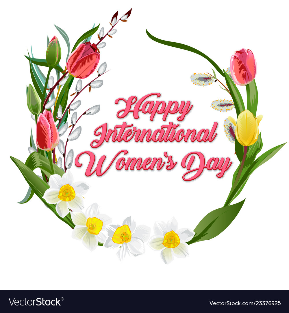 Happy women s day greeting card postcard on march