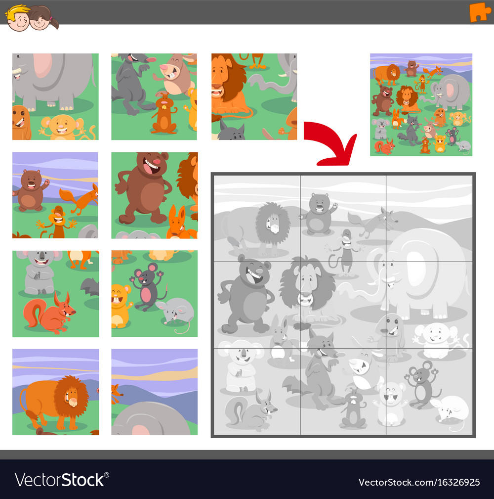 Jigsaw puzzle game with animal characters vector image