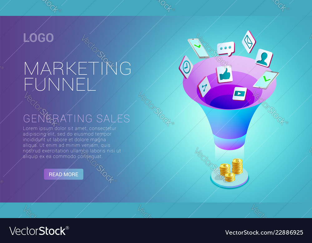 Landing page design with concept of marketing
