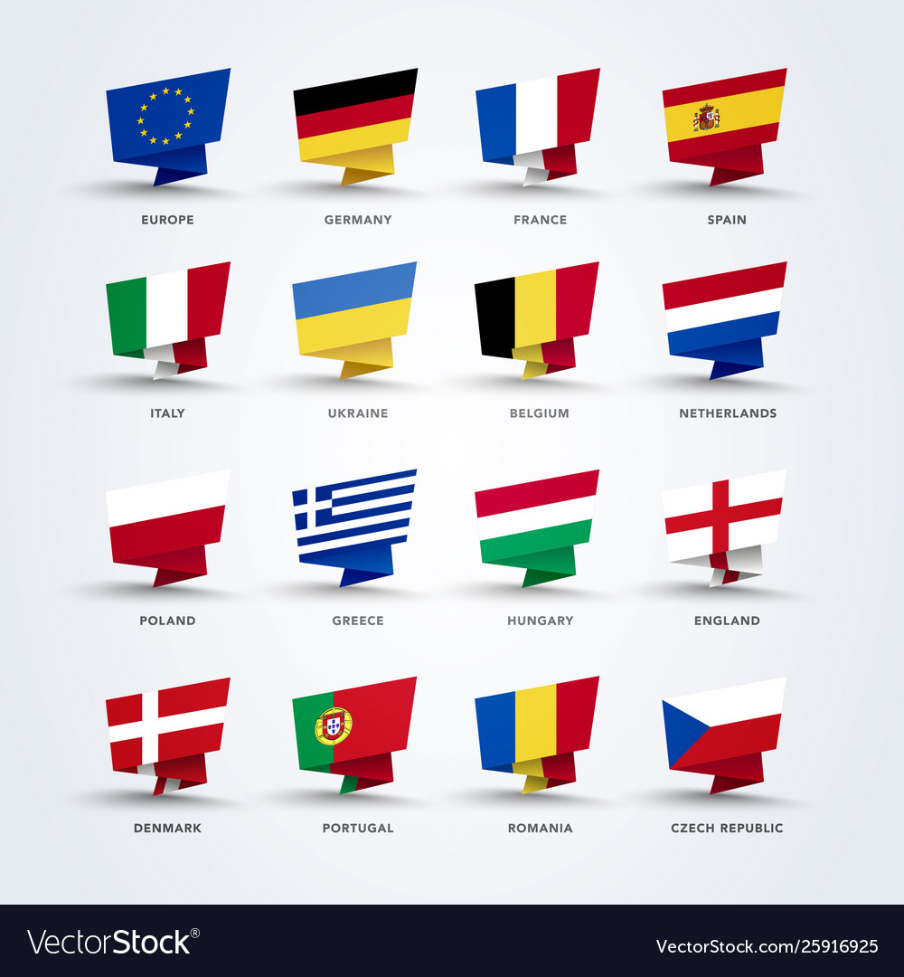 Origami pin flags world europe set