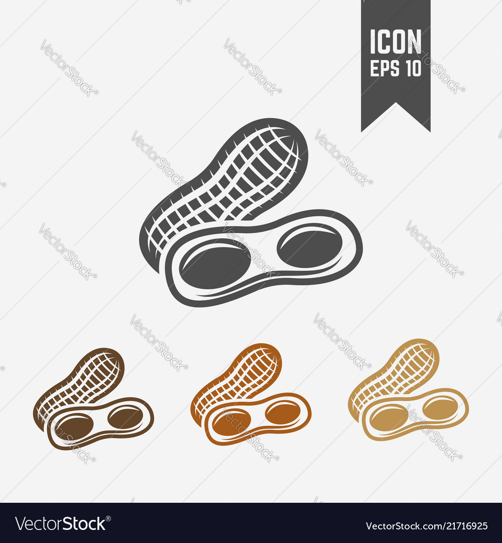 Peanut isolated black and colored icons