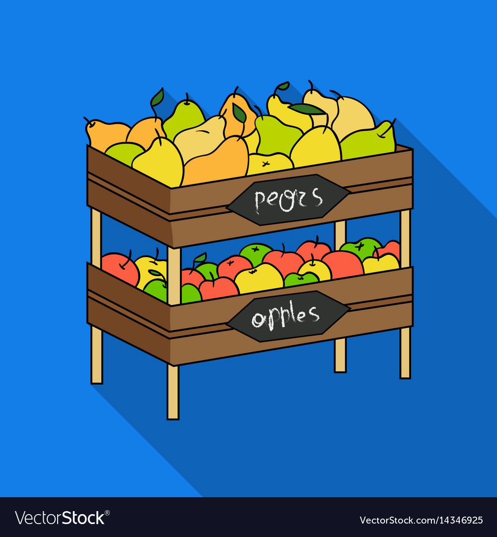 Raw food lying on rack shelves icon in flate style