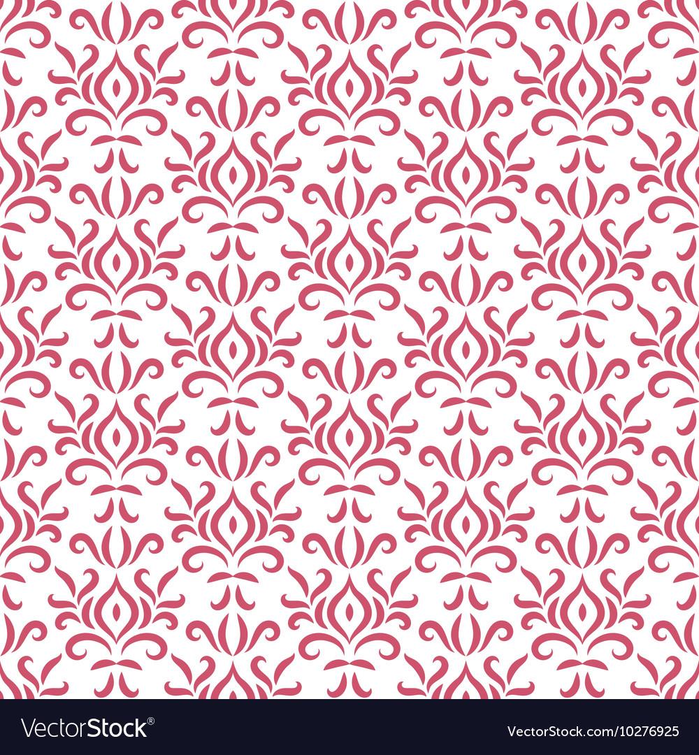 Red and white damask stylized seamless pattern