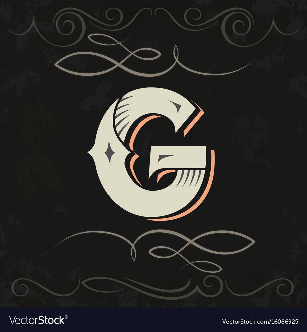 Retro style western letter design letter g Vector Image