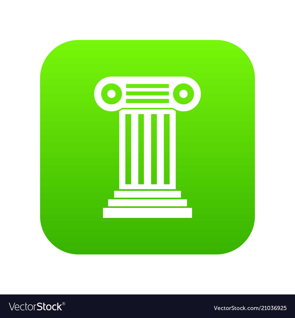 Roman column icon digital green vector image