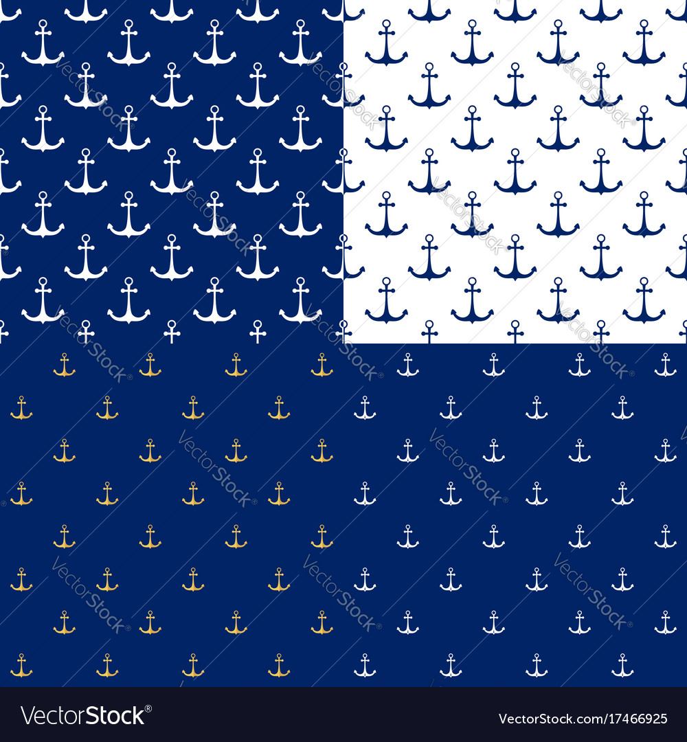Seamless marine pattern with anchor vector image