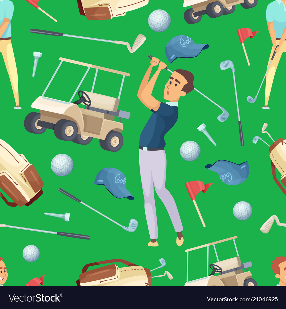Seamless pattern with sport at golf