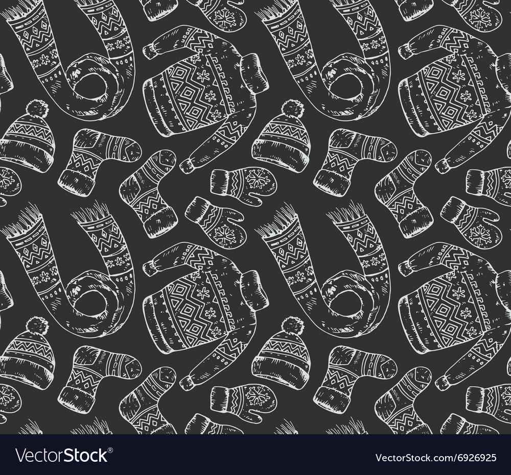 Seamless pattern with winter holiday elements