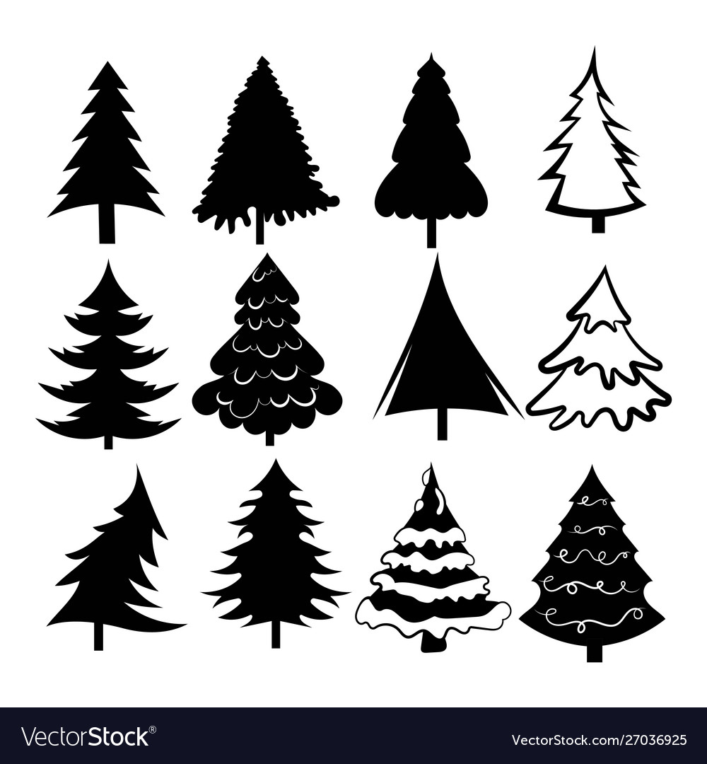 Set christmas trees collection stylized