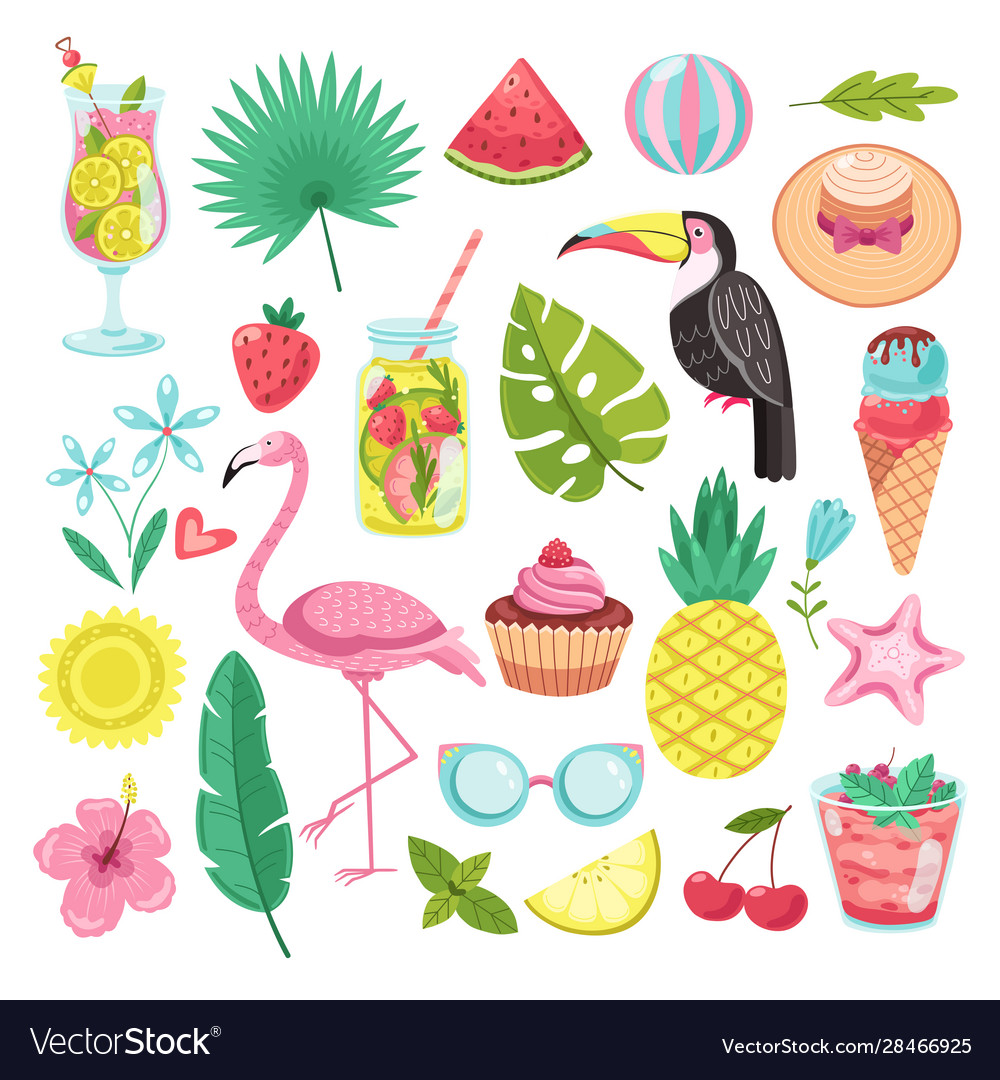 Summer elements tropical vacation stickers