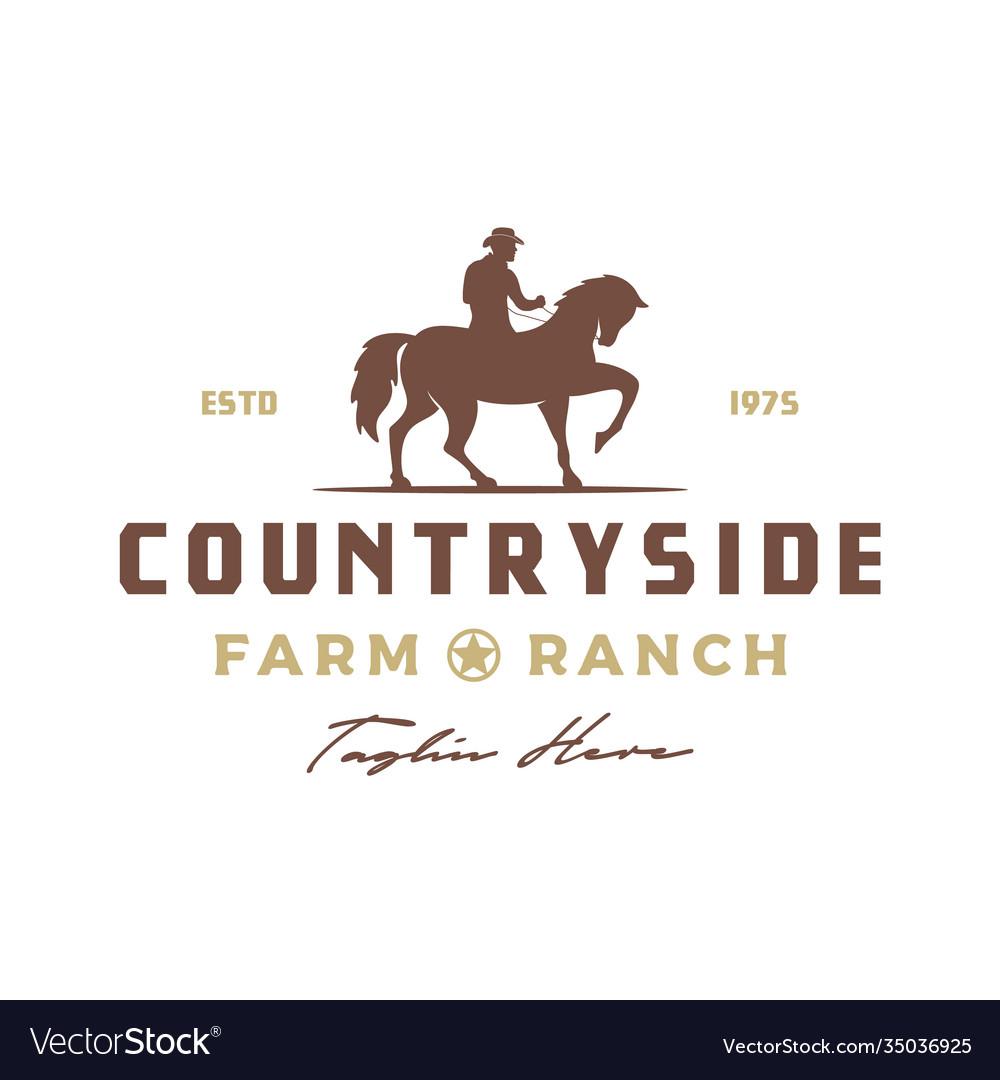 Vintage retro cowboy riding horse silhouette logo