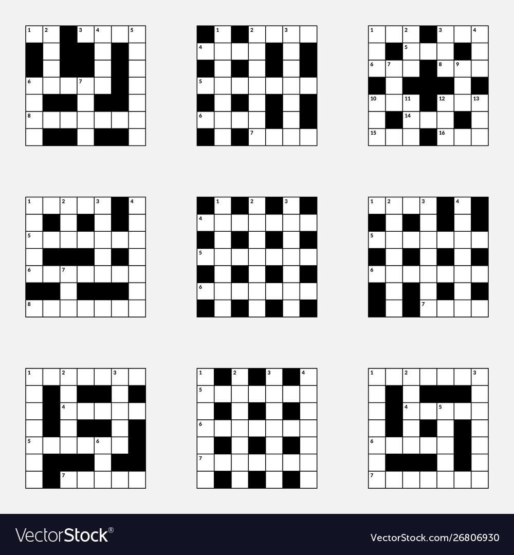 7x7 crossword puzzle set Royalty Free Vector Image