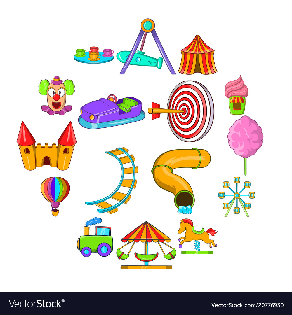 Amusement park icons set cartoon style