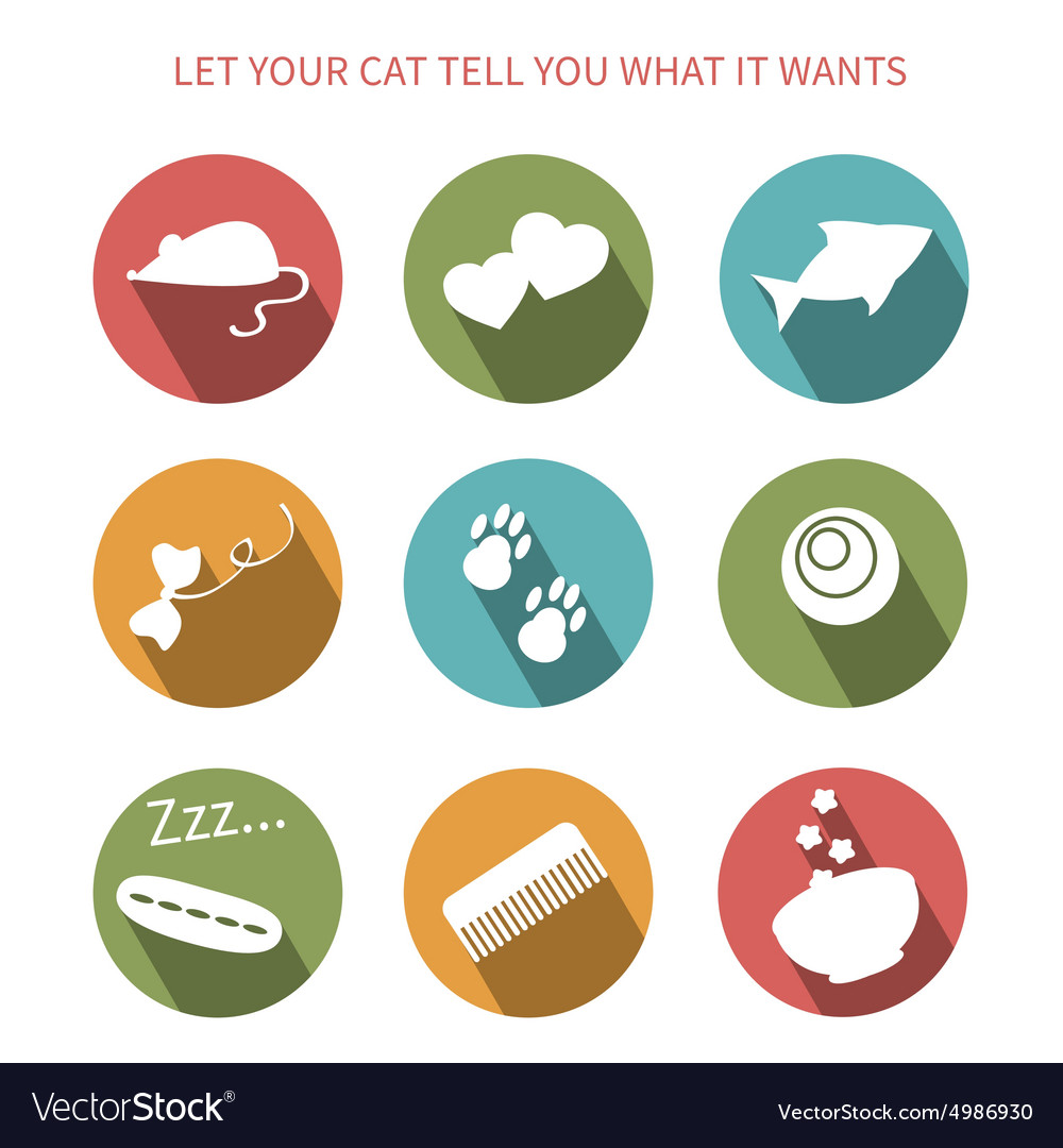 cat toy icons royalty free vector image vectorstock