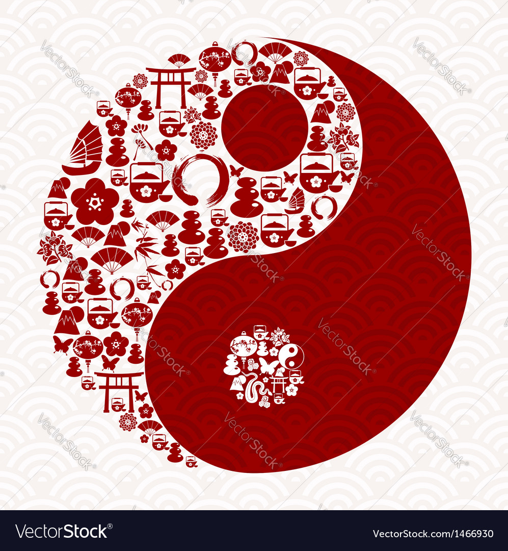Chinese New Year Of The Snake Yin Yang Royalty Free Vector