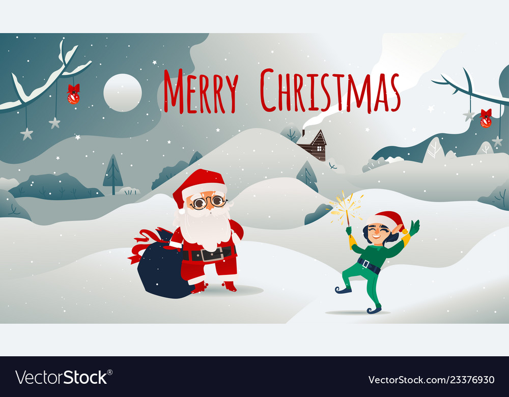 Christmas banner with santa