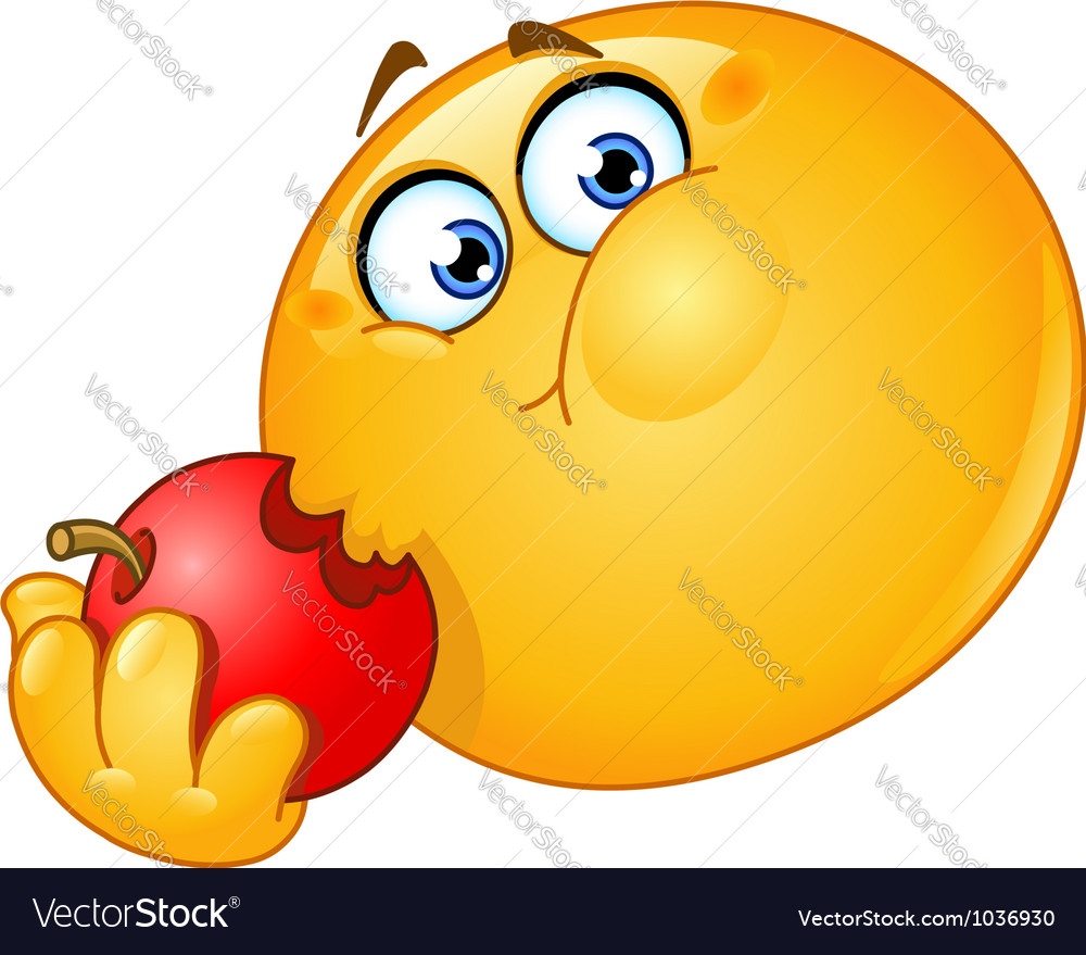 Emoticon Eating Apple Royalty Free Vector Image