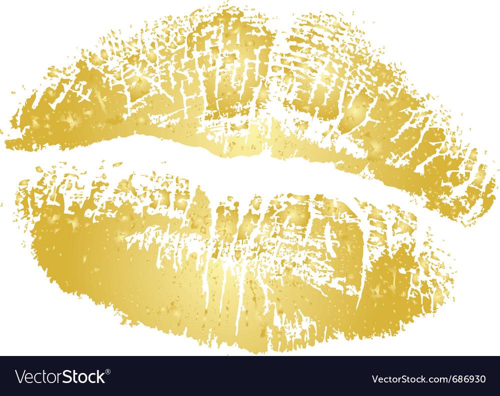 Gold kiss vector image