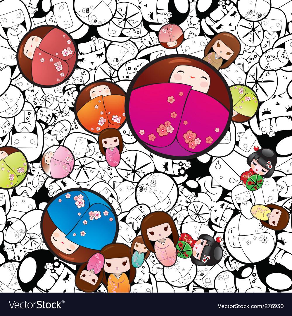 Kokeshi dolls vector image