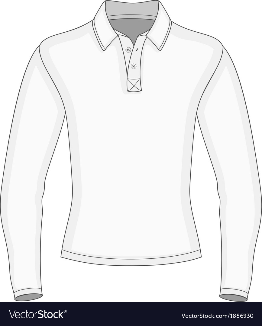 Mens Long Sleeve Polo Shirt Royalty Free Vector Image