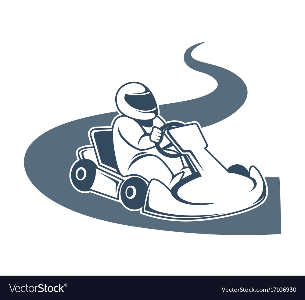 Professional kart racer sits in vehicle and drives vector image