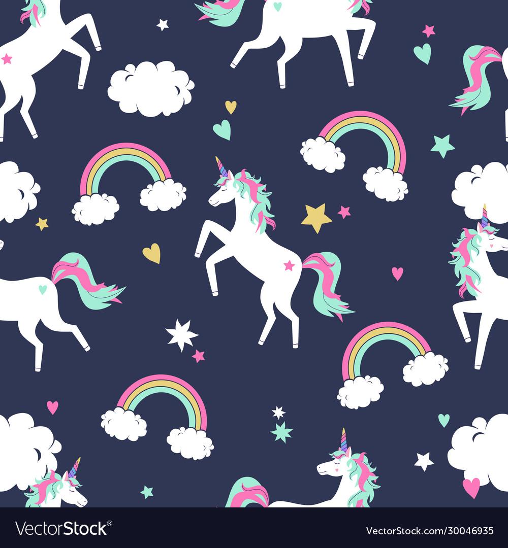 Cute seamless pattern with unicorns rainbows and