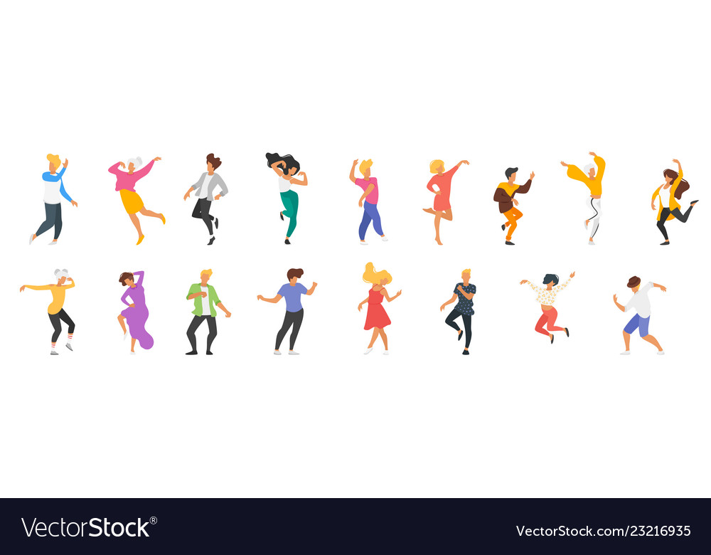 Dancing people silhouette