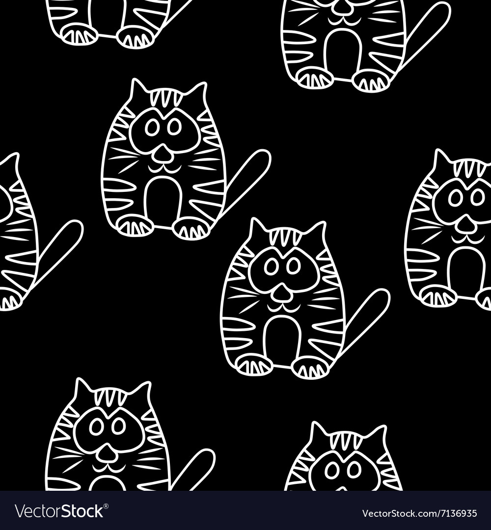 Funny Seamless pattern with cat Baby cat